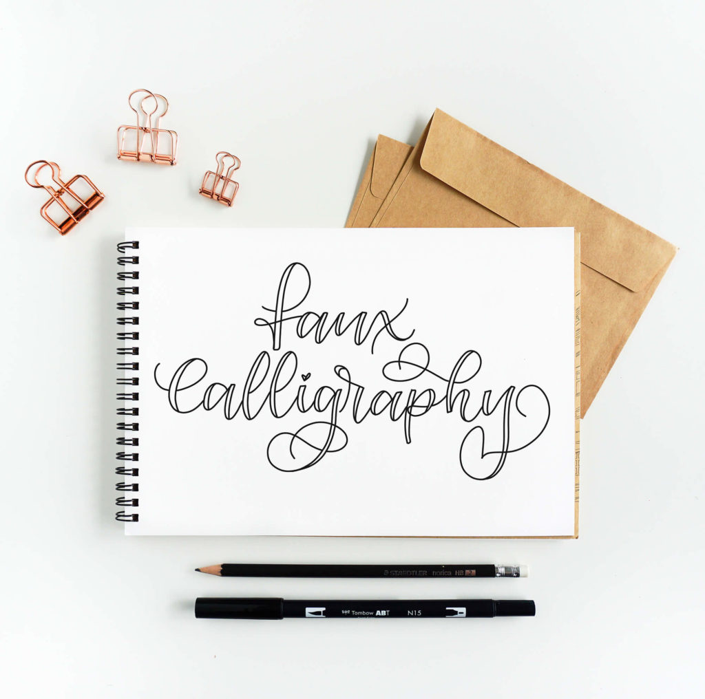 Learn how to make Faux Calligraphy with this easy step-by-step calligraphy tutorial by Vial Designs #moderncalligraphy