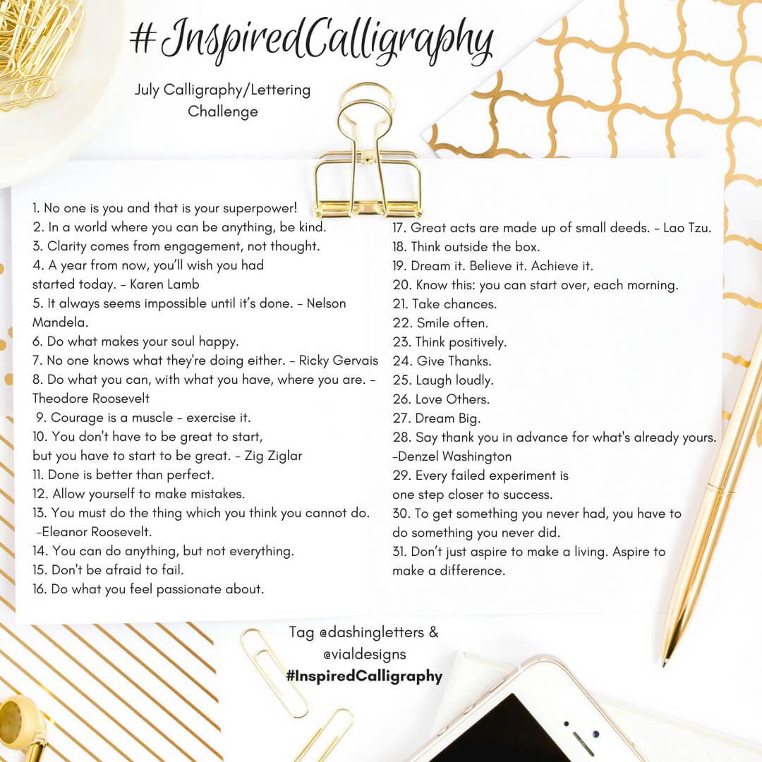What is a Lettering Challenge and Why You Should Participate in one   Calligraphy Challenge   Daily Inspirational Quotes for July