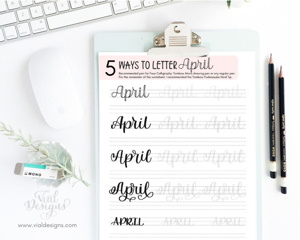 5 Ways to Letter April Free Calligraphy Practice Sheet Displayed on a Clipboard by Vial Designs