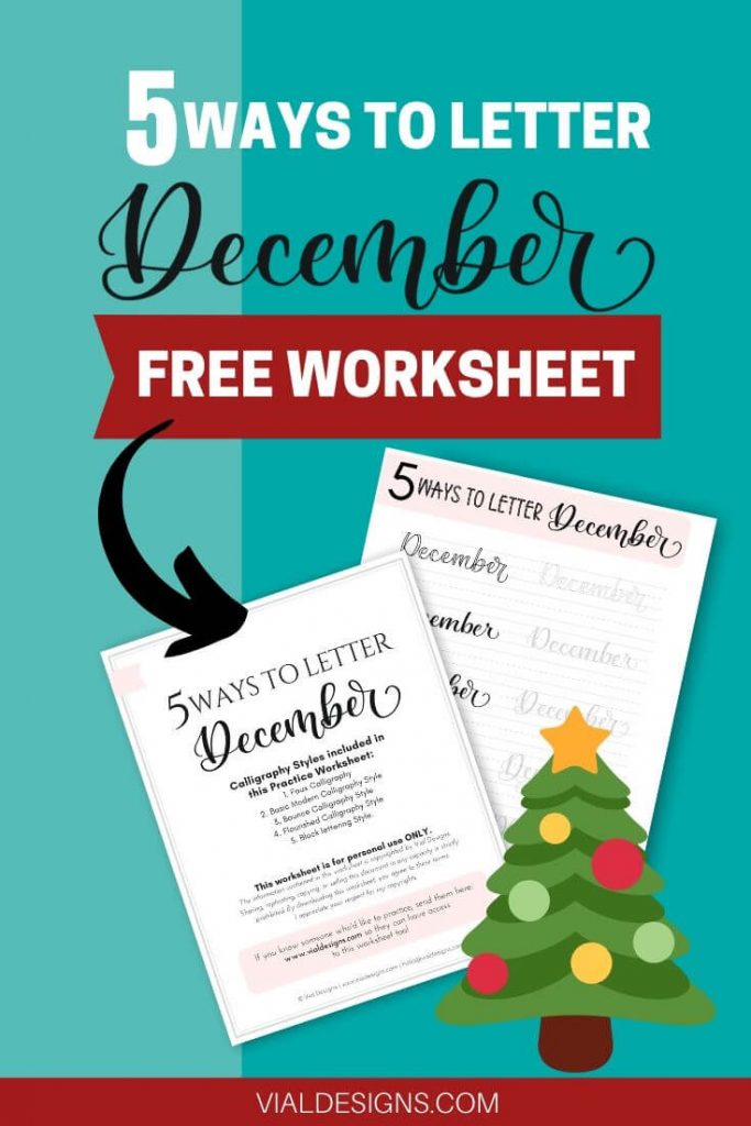 5 Ways to Letter December including FREE practice worksheet displayed