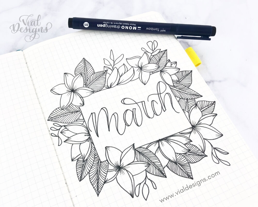 5 Ways to Letter March_Bullet Journal Ideas By Vial Designs