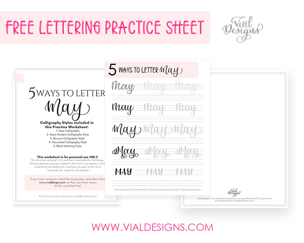Display of the 5 Ways to Letter May FREE lettering worksheet