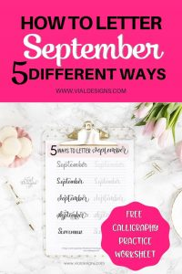 5 different ways to letter September plus a free practice worksheet by Vial Designs