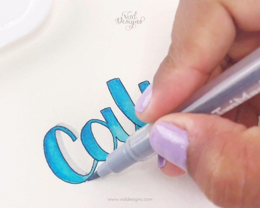 Adding Shadows to the lettering_Watercolor Blending lettering tutorial by Vial Designs