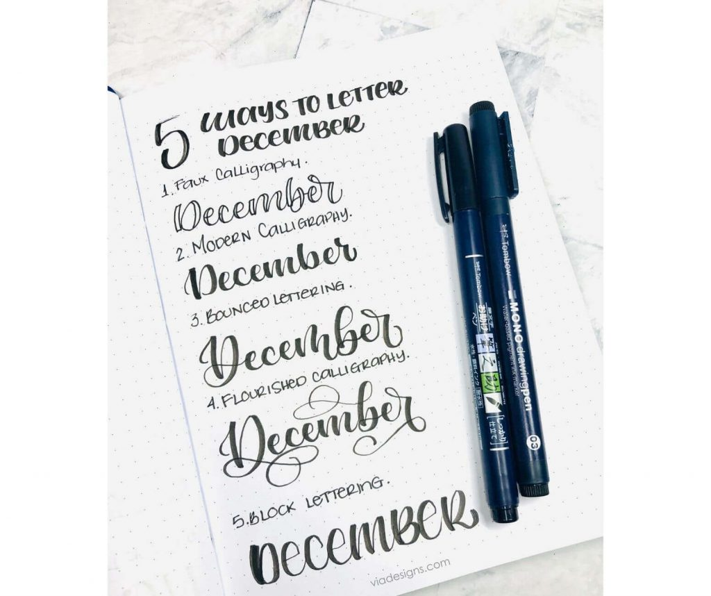 Bullet Journal 5 Ways to Letter December Vial Designs