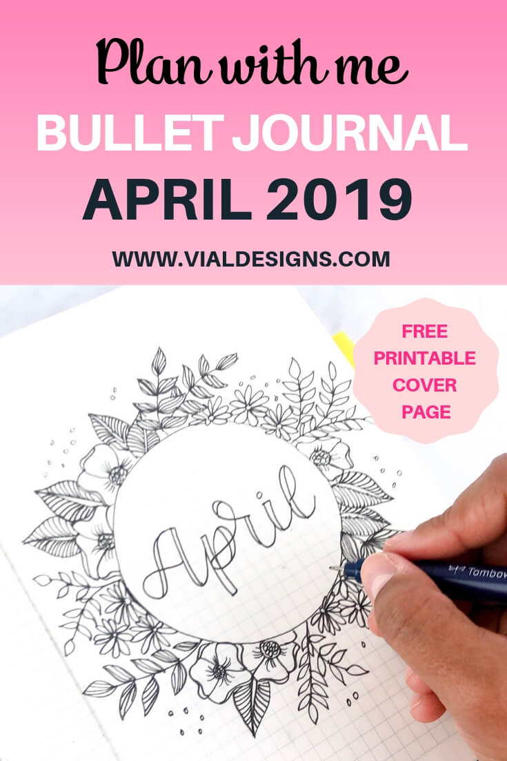 Plan With Me April 2019 Free Cover Page by Vial Designs Pinterest Image
