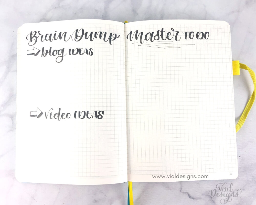 Simple Brain Dump and Master To Do List Pages from my Bullet Journal set up in April 2019