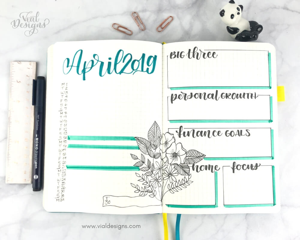 Plan With Me April 2019_Bullet Journal Calendar and Goal Pages with floral drawings