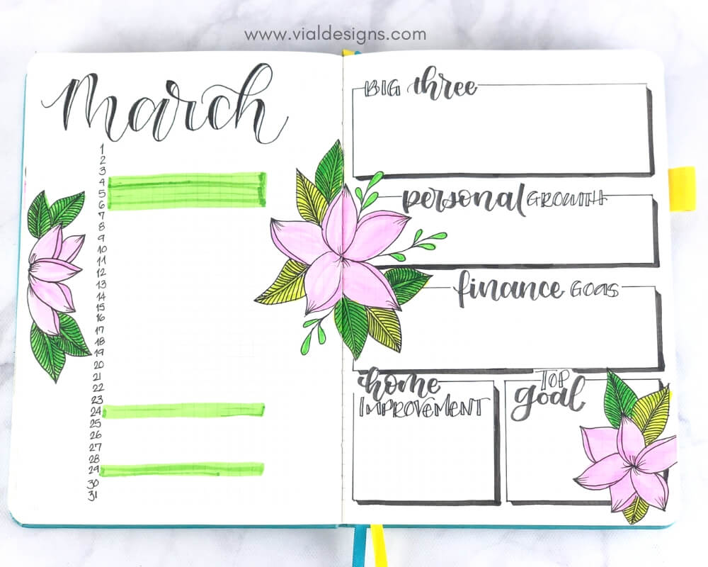 My Bullet Journal March 2019 Calendar And Goals Pages with color by Vial Designs