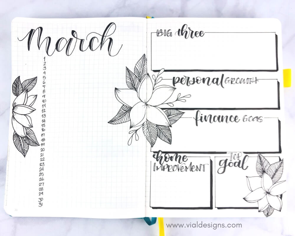 My Bullet Journal March 2019 Calendar And Goals Pages by Vial Designs