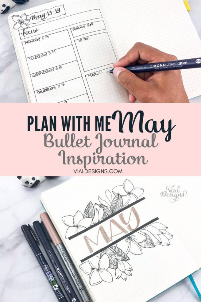 Plan with Me May bullet journal inspiration Pinterest graphic