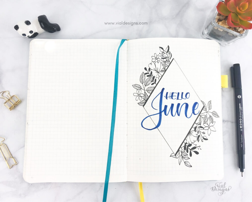 Cover Page for my Plan with Me June 2019 | Floral doodles drawing