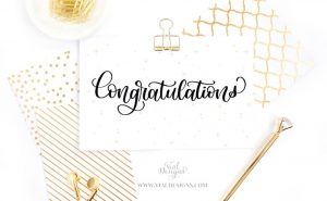 Congratulations Card done with Modern Calligraphy by Vial Designs