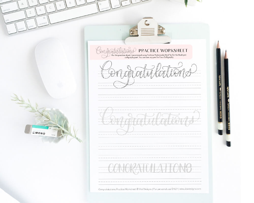 CONGRATULATIONS Free Calligraphy Worksheet on a White Background with gold pen