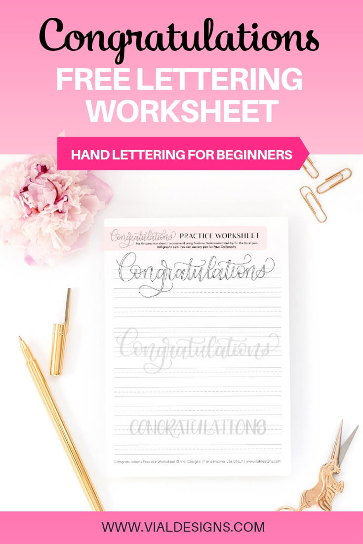 Congratulations Free Lettering Practice Sheet by Vial Designs