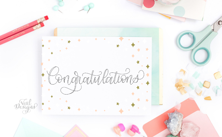 Congratulations Free Lettering Worksheet by Vial Designs | Featured blog image