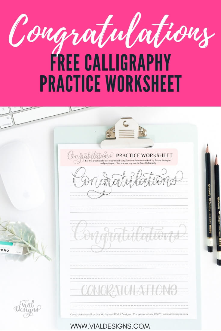Congratulations Free Lettering Worksheet by Vial Designs_Pinterest Image