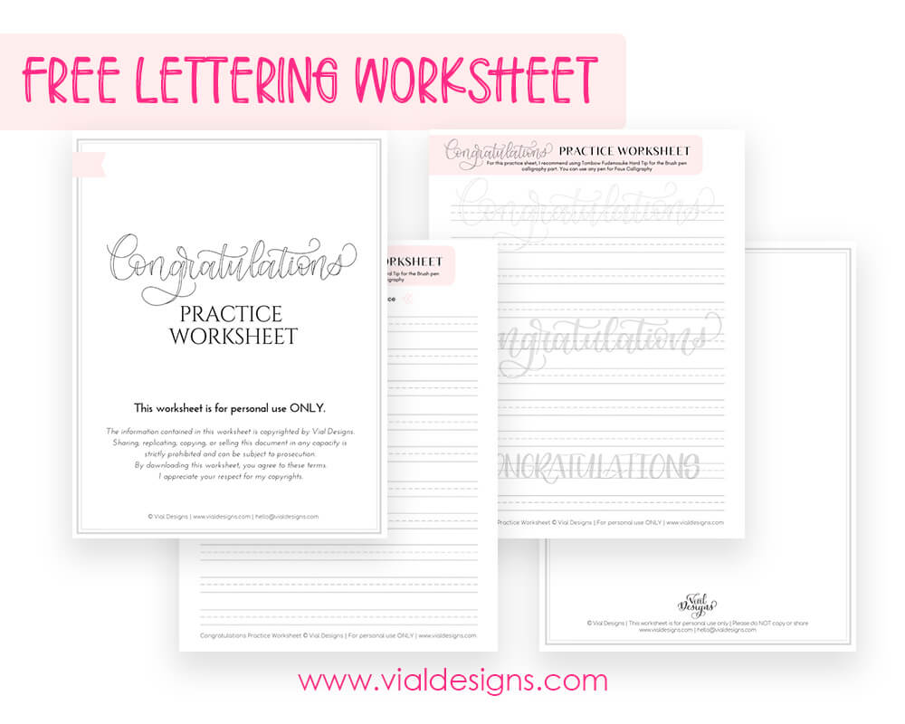 Congratulations Free Lettering Worksheet_Sample Picture