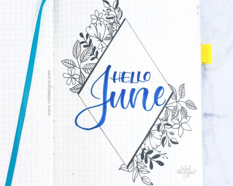 June Cover page for my Bullet Journal Set up with a Diamond and florals drawings around it | Vial Designs