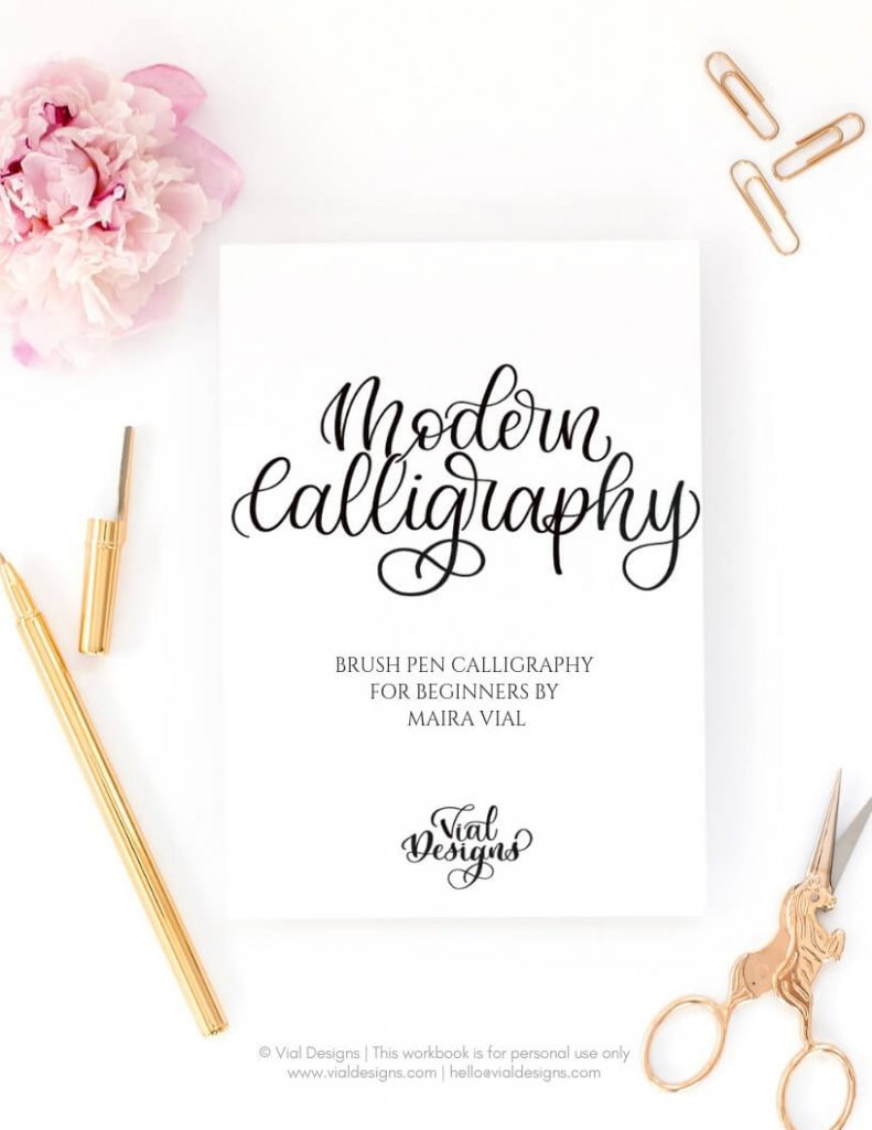 Modern Calligraphy Workbook for beginners by Vial Designs