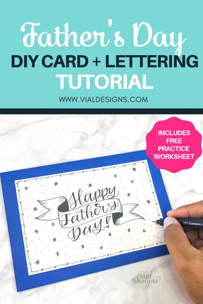 Father's Day DIY Card Lettering Tutorial Pinterest Graphic