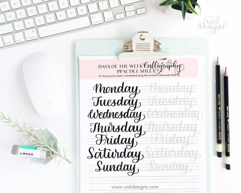 Days of the Week Calligraphy Tutorial by Vial Designs_Mint Keyboard