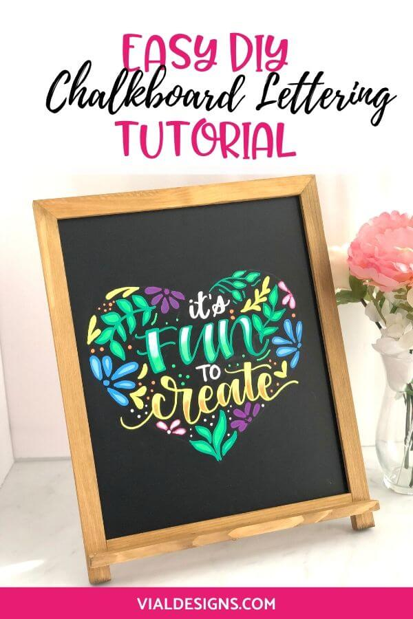 Easy DIY Chalkboard Lettering Sign Graphic by Vial Designs