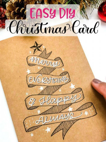 Easy DIY Christmas Card and banner doodle step-by-step tutorial