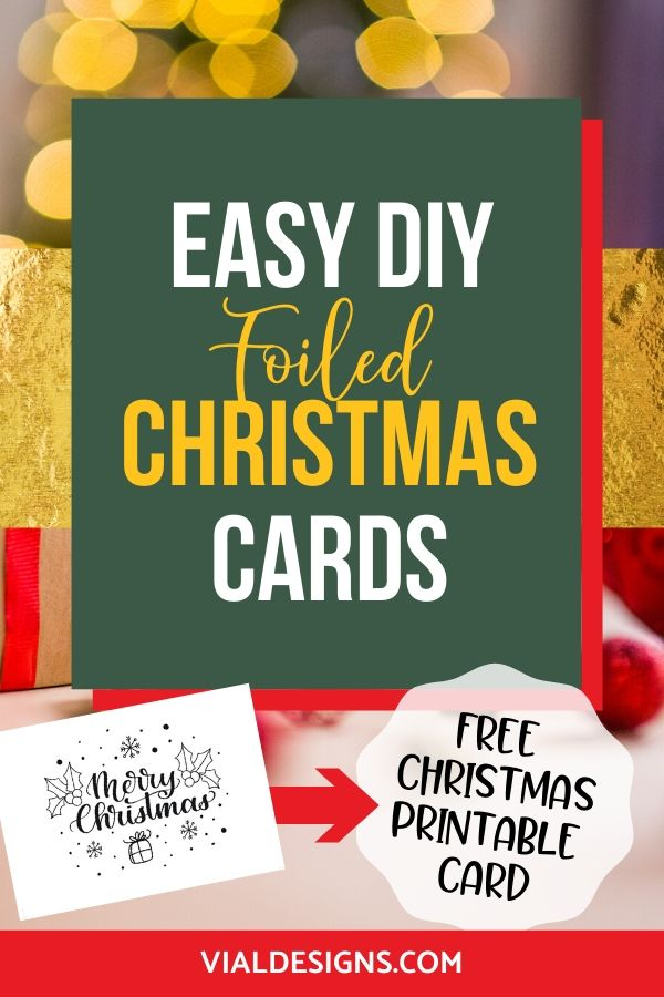 Easy DIY Foiled Christmas Cards Tutorial by Vial Designs