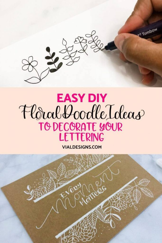 Easy Floral Doodle Ideas to decorate your lettering Vial Designs