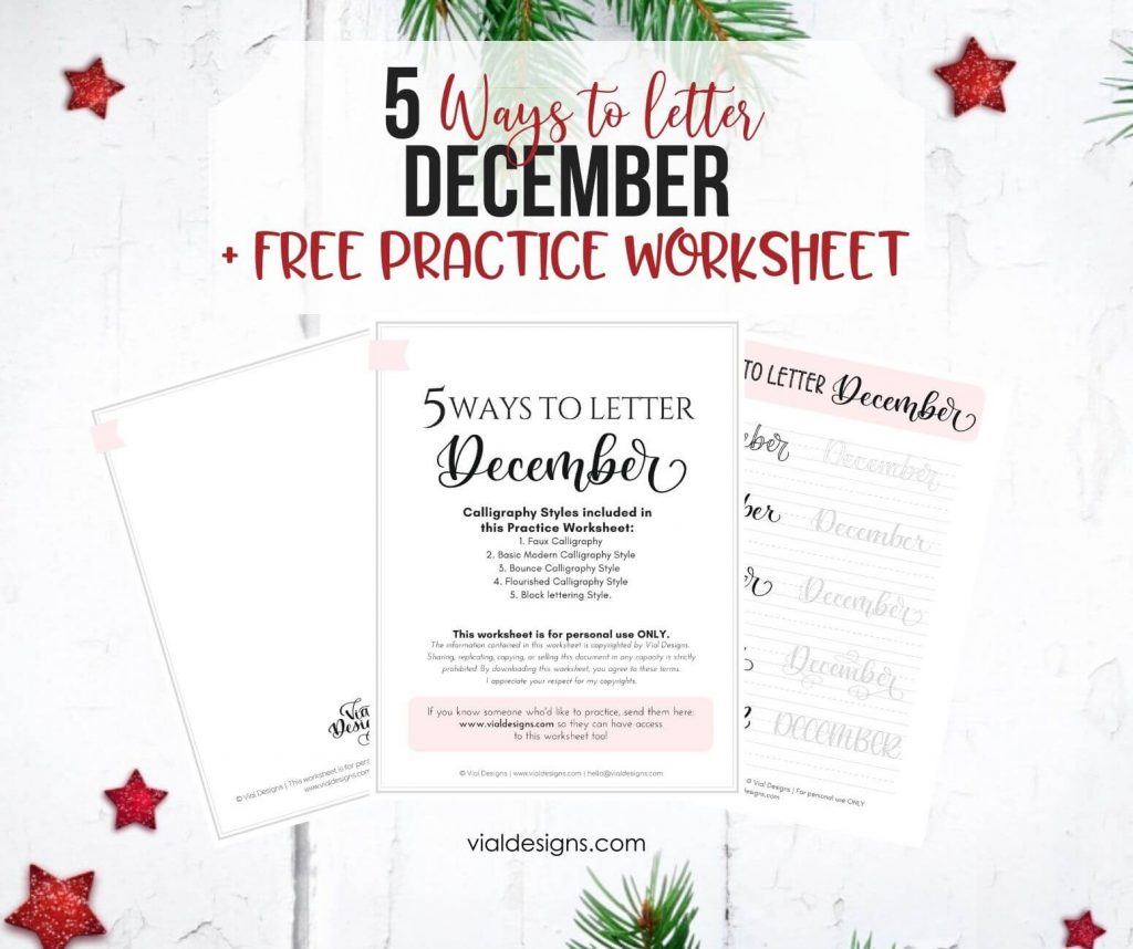 FREE 5 Ways to December Lettering Practice Worksheet Displayed