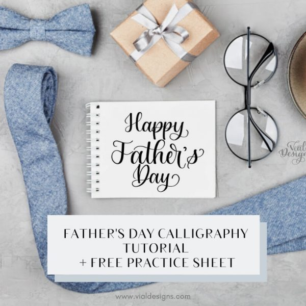 HAPPY FATHER'S DAY FREE CALLIGRAPHY WORKSHEET