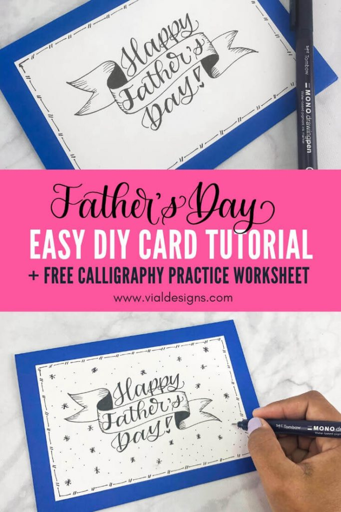 Father's Day DIY Card Lettering Tutorial Pinterest Graphic showing 2 pictures of the DIY card