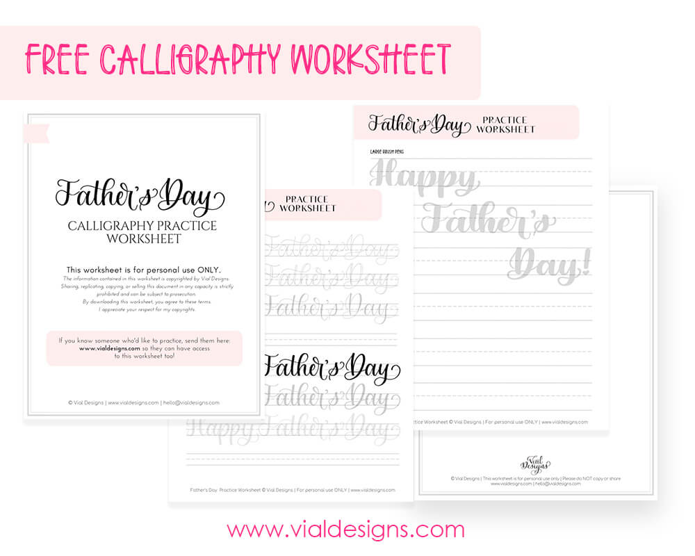 Happy Father's Day FREE calligraphy worksheet displayed in three different pages