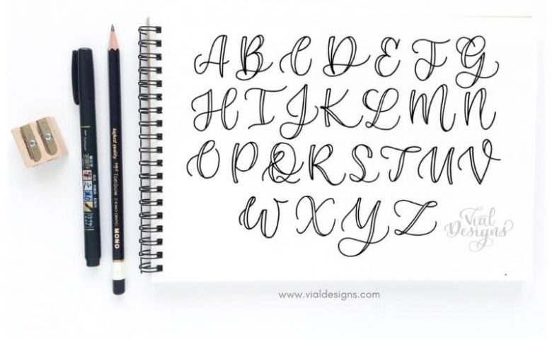 Calligraphy Alphabet | Faux Calligraphy Tutorial | Learn How to make Faux Calligraphy Uppercase Letter by Vial Designs | Step-by-step tutorial to create beautiful uppercase letters plus free calligraphy worksheet | Free Calligraphy Practice Sheet