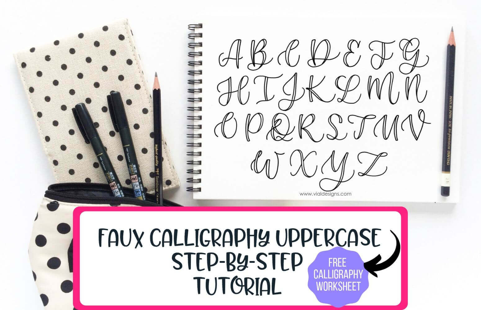 Faux Calligraphy Tutorial Uppercase Free Practice Shee