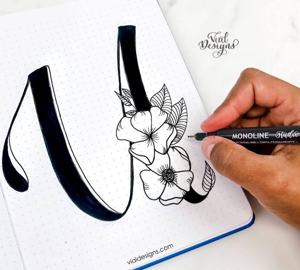 Floral Alphabet tutorial_Final letter u