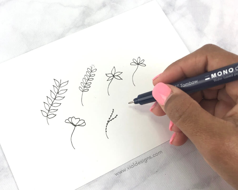 Floral Doodles to make a wreath by Vial Designs