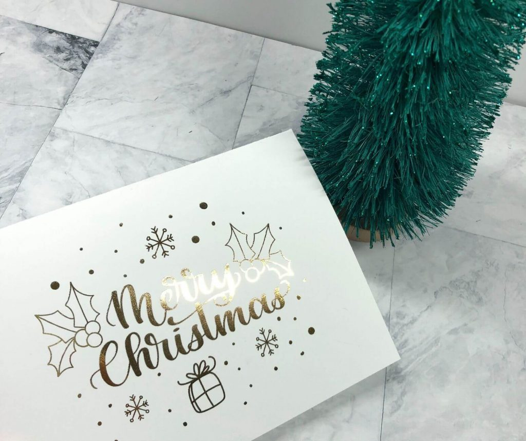 Foiled christmas card_White cardstock gold foil