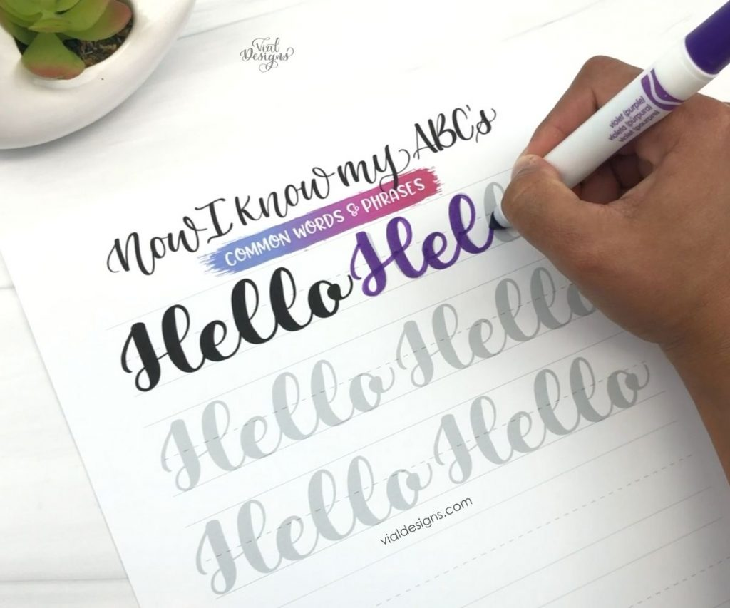 Forming words_Hello page from my Modern Calligraphy Workbook for beginners_using a crayola marker to do calligraphy