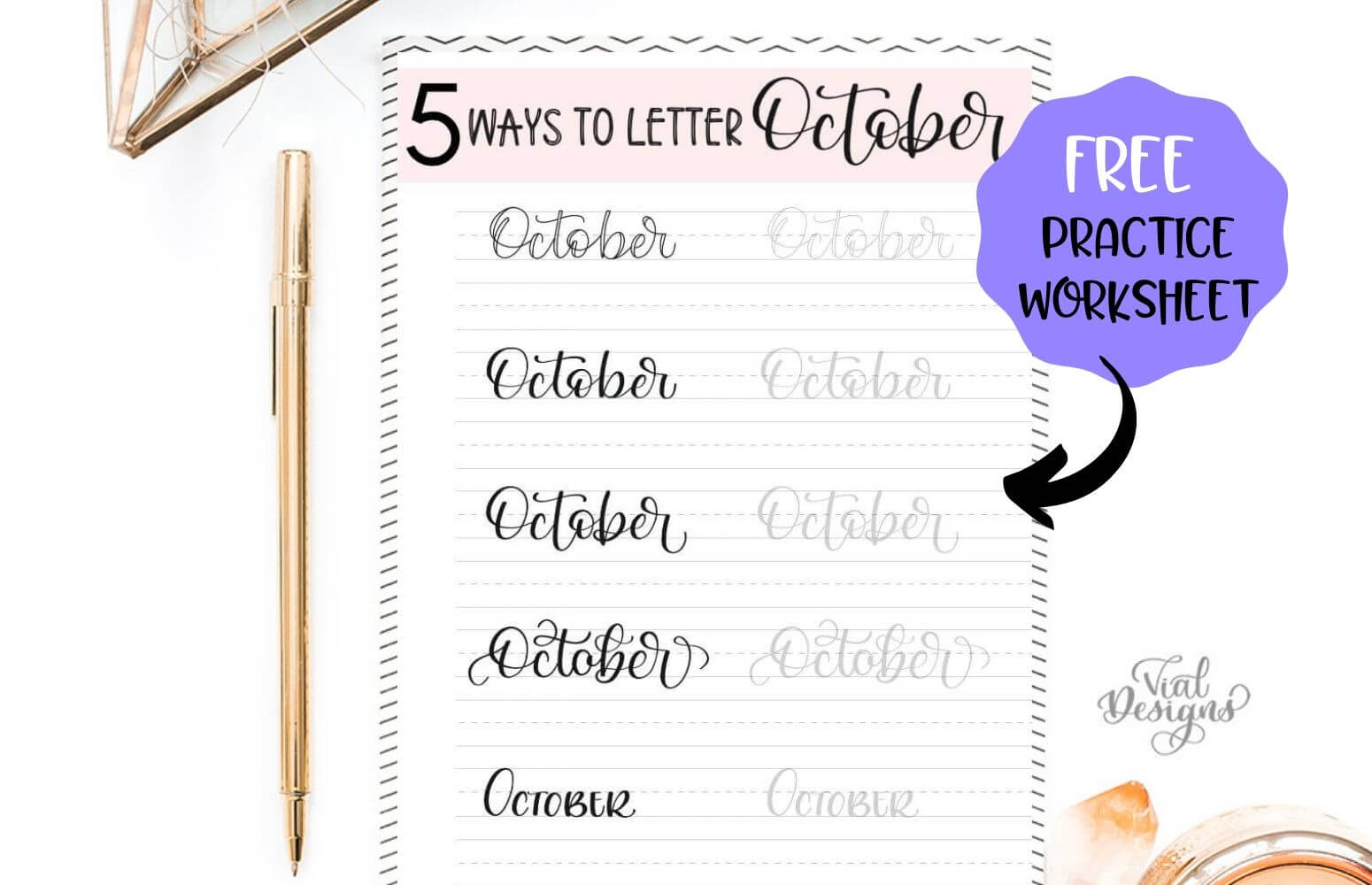 Free 5 Ways to Letter October Practice Worksheet by Vial Designs
