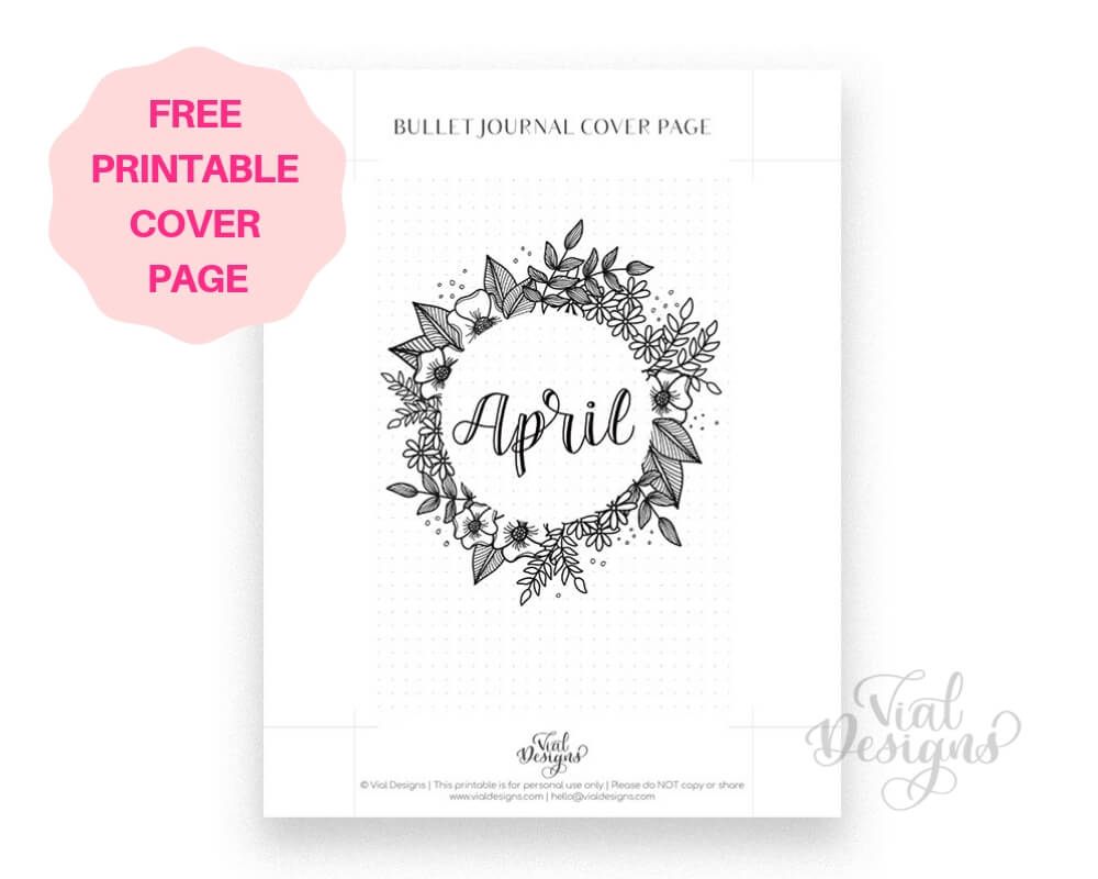 Free Bullet Journal Cover Page April by Vial Designs