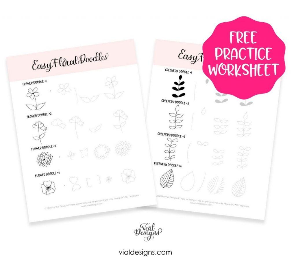 Free Floral Doodle Worksheet by Vial Designs