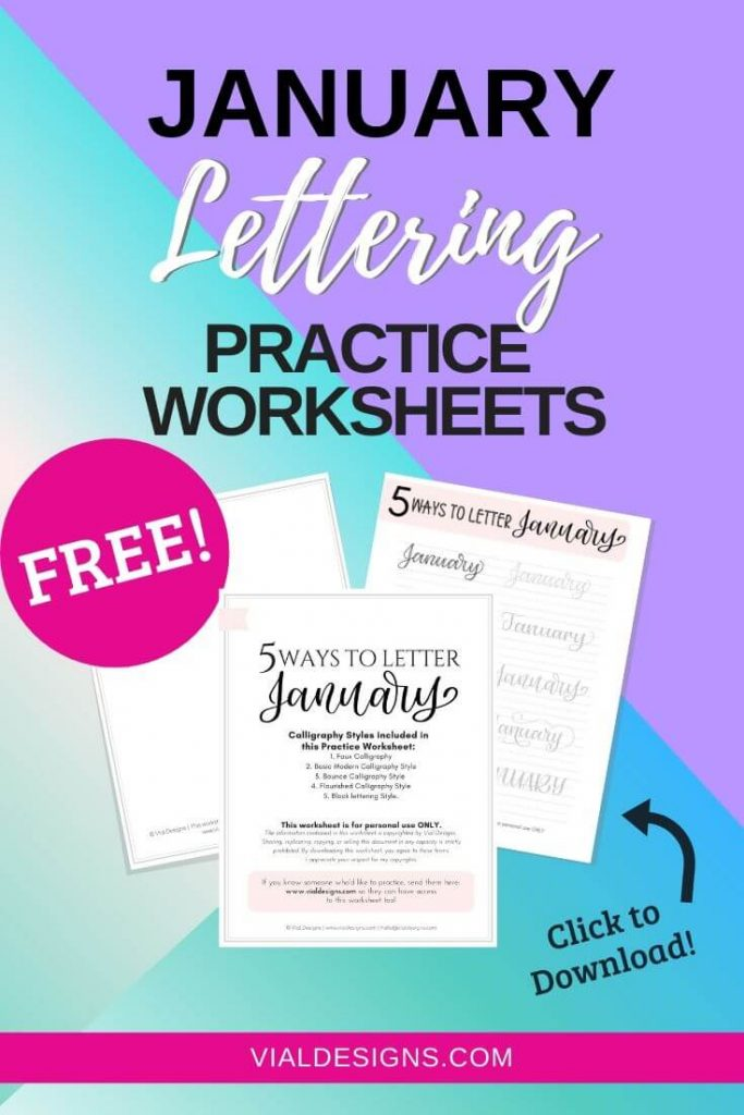 Free Lettering Worksheet 5 Ways to letter January by Vial Designs