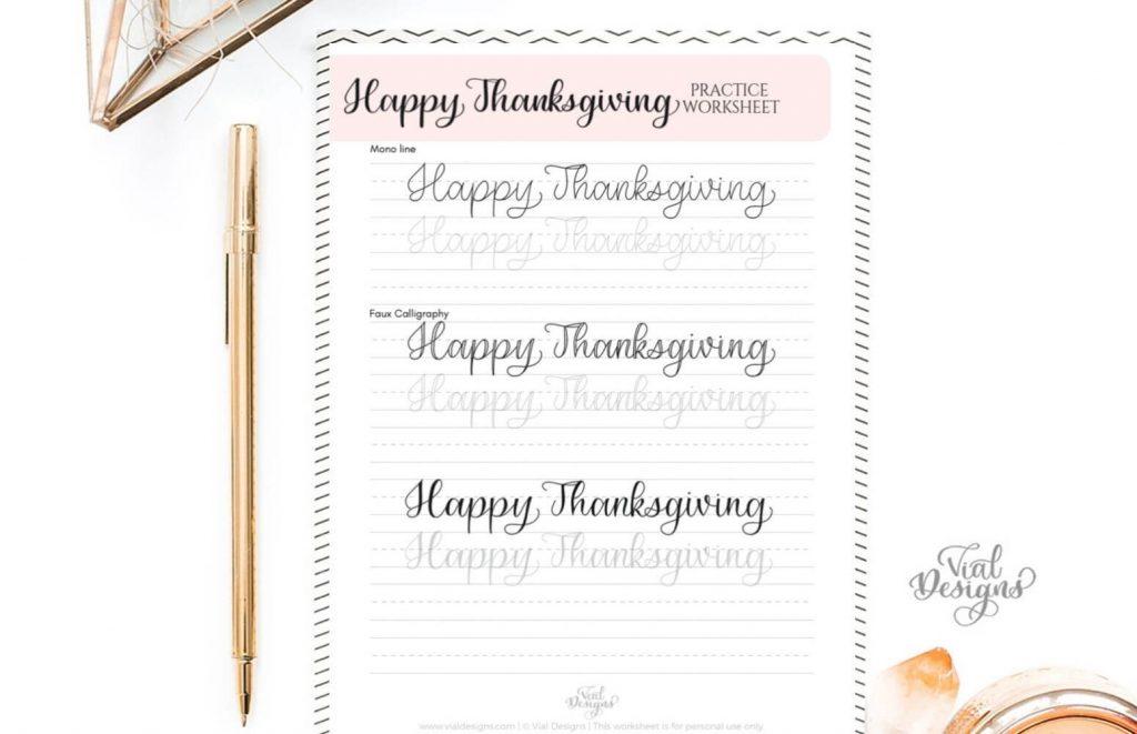 Happy Thanksgiving Calligraphy Practice Worksheet Displayed