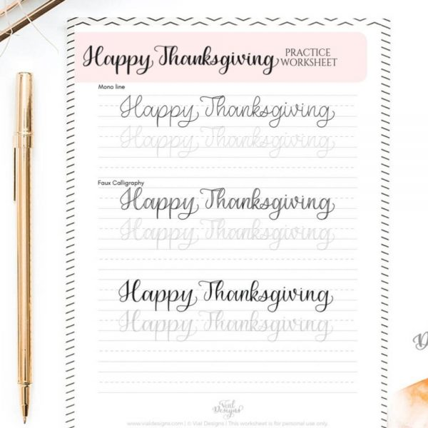 Happy Thanksgiving Calligraphy Practice Worksheet Displayed