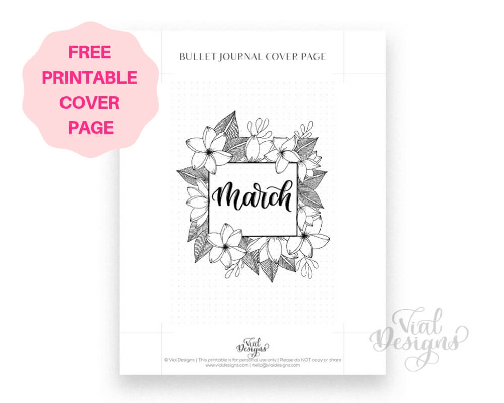 Free Printable Bullet Journal Cover Page March 2019 by Vial Designs