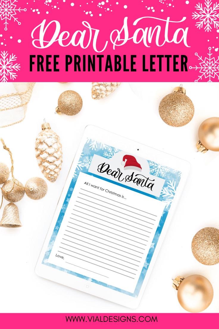 Dear Santa Letter Free Printable by Vial Designs | Free Christmas Printable | Christmas Printable Ideas