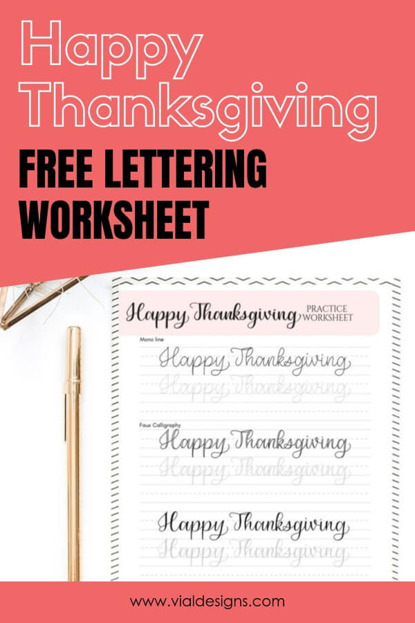 Free Happy Thanksgiving Lettering Practice Sheet by Vial Designs
