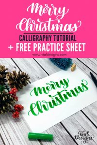 How to do Merry Christmas in Calligraphy | Merry Christmas in lettering | How to write Merry Christmas Pretty Handwriting | Free Merry Christmas Calligraphy Practice Worksheet by Vial Designs